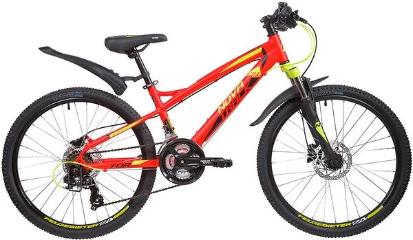 """Велосипед NOVATRACK 24"""" TORNADO, алюм.рама 13"""", красный, 21-скор, TY300/TS38/TZ500, гидравл.торм.Shimano"""