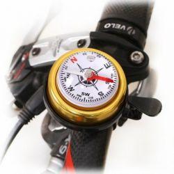 Звонок на руль со встроенным компасом, латунь/пластик, цвет - золотой, диаметр 47 мм., шт
