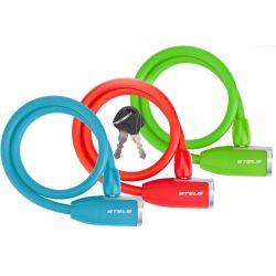 Трос-замок 84356 (650мм) d 10mm(зеленый, красный, синий)