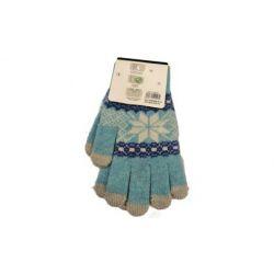 Перчатки сенсорные шерстяные FT-162, Цвет: Голубой