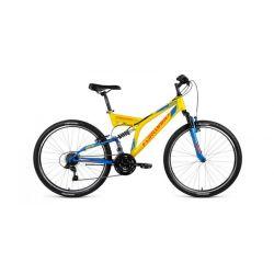 """Двухподвесный велосипед Forward Raptor 26 1.0 (2018) Желто-синий 18"""""""